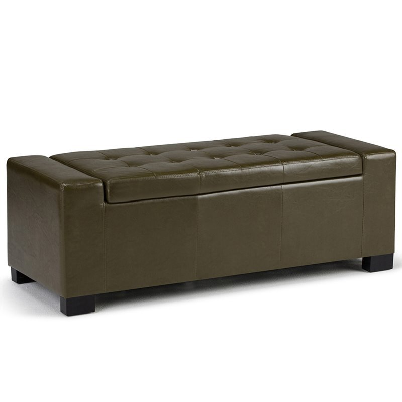 Faux Leather Storage Bench In Deep Olive Green Axcot 231 Gr