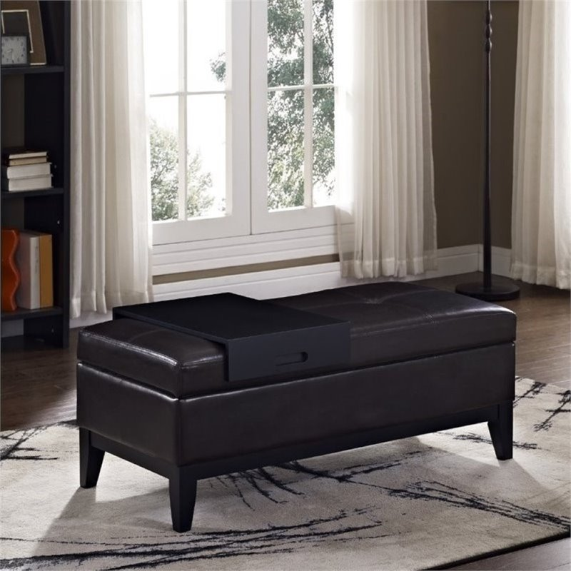 Simpli Home Oregon Faux Leather Storage Bench with Tray in Brown
