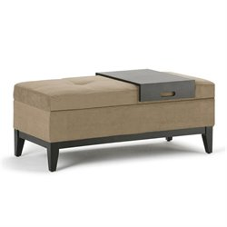 Simpli Home Oregon Storage Bench with Tray in Khaki Beige