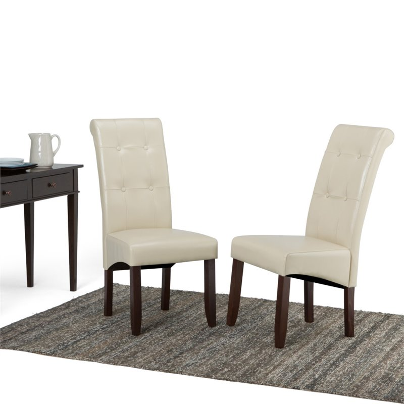 and dining dining chairs faux leather dining chair in cream set of 2