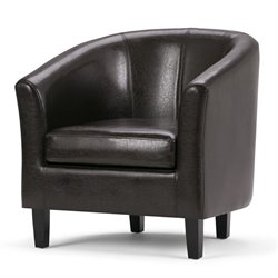 Simpli Home Austin Faux Leather Tub Chair in Dark Brown