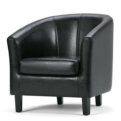 Simpli Home Austin Faux Leather Tub Chair in Black