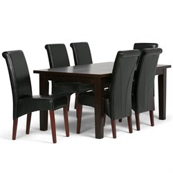 Simpli Home Avalon 7 Piece Dining Set in Black
