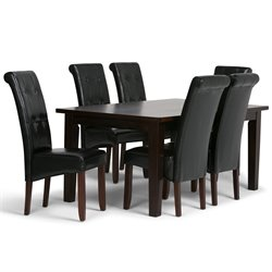 Simpli Home Cosmopolitan 7 Piece Dining Set in Black