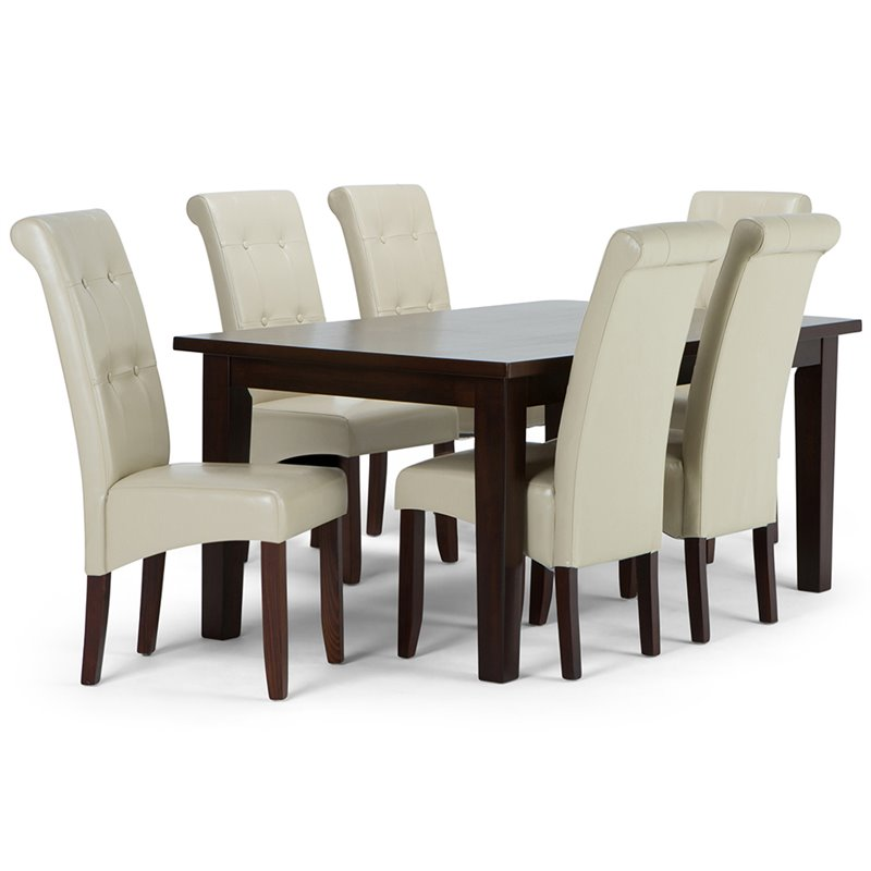 Simpli Home Cosmopolitan 7 Piece Dining Set in Cream and Java Brown