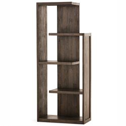 Simpli Home Monroe 4 Shelf Bookcase in Distressed Charcoal Brown