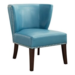 Simpli Home Jamestown Leather Accent Chair in Blue