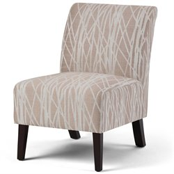 Simpli Home Woodford Accent Chair in Beige and White