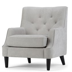 Tufted Club Chair in Light Dove Gray