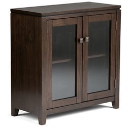 Simpli Home Cosmopolitan Low Storage Cabinet in Coffee Brown