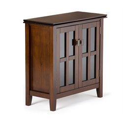 Simpli Home Artisan Low Storage Cabinet in Medium Auburn Brown