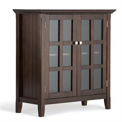 Simpli Home Acadian Low Storage Cabinet in Tobacco Brown