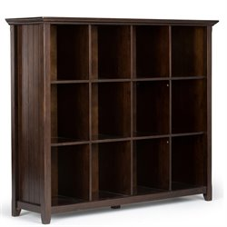 Simpli Home Acadian 12 Cube Bookcase in Tobacco Brown