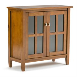 Simpli Home Warm Low Storage Cabinet in Honey Brown