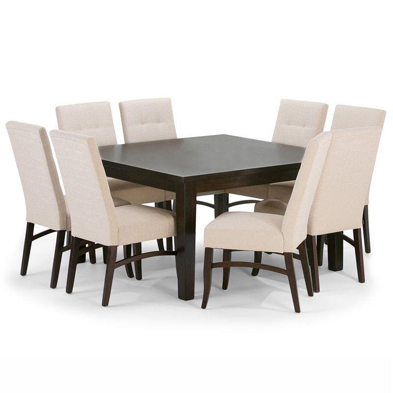 9 piece square dining set in natural axcds9ez nl for Square dinette sets