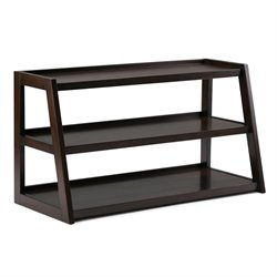 Simpli Home Sawhorse TV Stand in Chestnut Brown