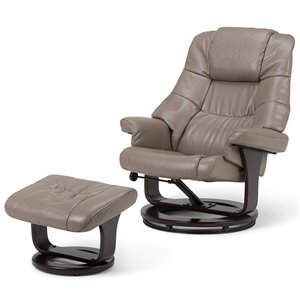 Simpli Home Ledi Air Leather Euro Recliner with Ottoman in Taupe