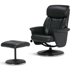 Simpli Home Carson Air Leather Euro Recliner with Ottoman in Black