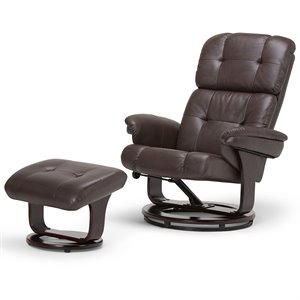 Simpli Home Merrin Air Leather Euro Recliner with Ottoman in Brown