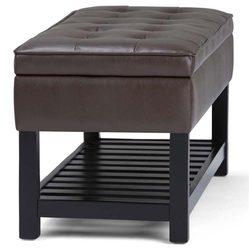 Simpli Home Cosmopolitan Faux Leather Ottoman in Chocolate Brown