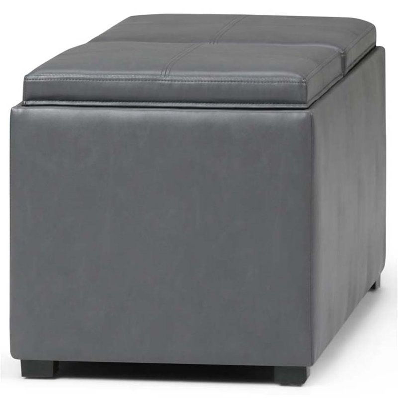 Simpli Home Avalon Faux Leather Storage Bench Bench in Stone Gray