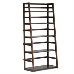 Simpli Home Acadian Ladder Shelf Bookcase in Dark Tobacco Brown