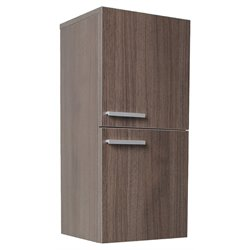 Fresca Senza Bathroom Linen Side Cabinet with Storage Areas in Gray Oak