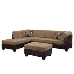 ACME Connell 2 Piece Faux Leather Sectional Sofa with Ottoman in Brown