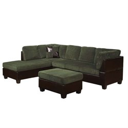 ACME Connell 2 Piece Sectional Sofa with Ottoman in Olive Gray