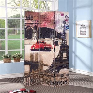 ACME Furniture Trudy 3-Panel Wooden Screen in Paris Scenery