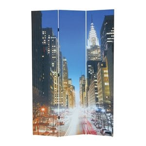 ACME Furniture Trudy 3-Panel Wooden Screen in Street Scenery