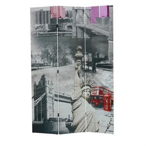 ACME Furniture Trudy 3-Panel Wooden Screen in City Icons Scenery