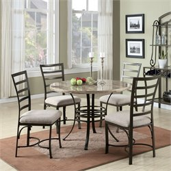 ACME Furniture Val 5 Piece Dining Set in White Antique Bronze