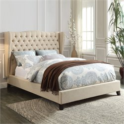 ACME Furniture Faye Linen King Bed in Beige and Espresso