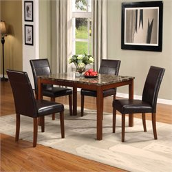 ACME Furniture Portland 5 Piece Dining Set in Brown Cherry