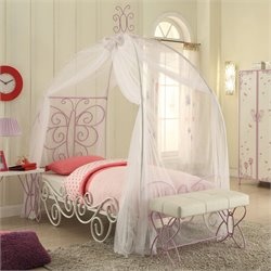 ACME Furniture Priya II Twin Bed with Canopy in White and Light Purple