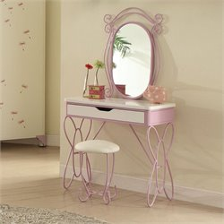 ACME Furniture Priya II Vanity Set in White and Light Purple