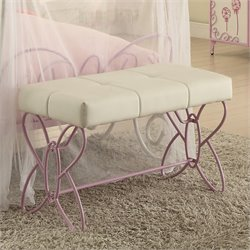 ACME Furniture Priya II Bench in White and Light Purple