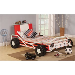 ACME Furniture Carson Racing Car Twin Bed in White and Red