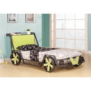 ACME Furniture Spencer Racing Car Twin Bed in Silver and Green