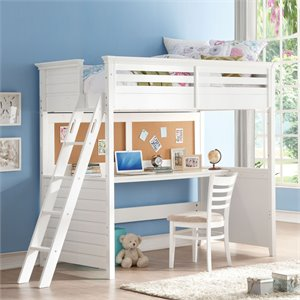 ACME Furniture Lacey Twin Loft Bed with Desk in White