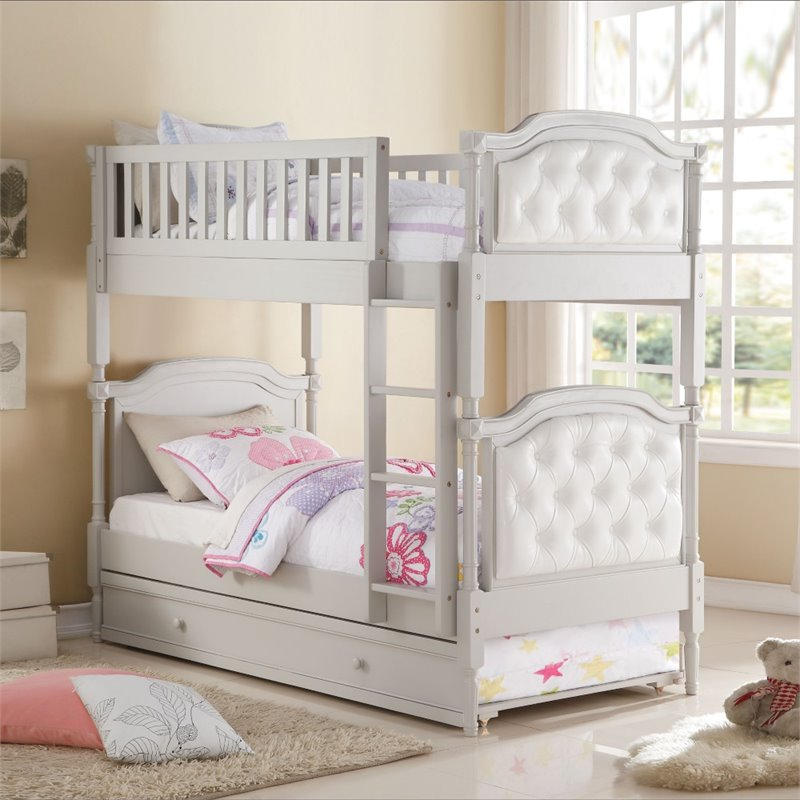 ACME Furniture Pearlie Twin over Twin Bunk Bed in Gray and Pearl
