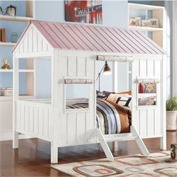 ACME Furniture Spring Cottage Full Bed in White and Pink