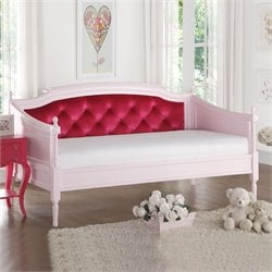ACME Furniture Wynell Velvet Daybed in Pink and Red