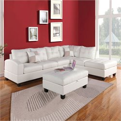 ACME Furniture Kiva Reversible Bonded Leather Sectional in White