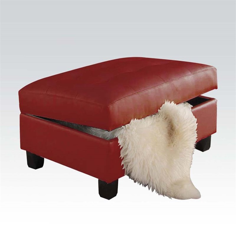 ACME Furniture Kiva Bonded Leather Storage Ottoman in Red
