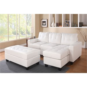 Acme Lyssa Bonded Leather Match Sectional Sofa with Ottoman