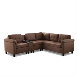 ACME Furniture Cleavon Reversible Linen Sectional with Console