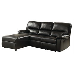 ACME Furniture Artha Bonded Leather Match Motion Sectional in Black
