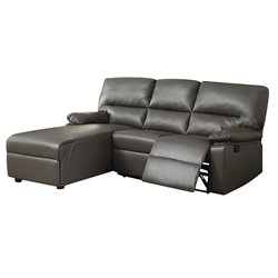 ACME Furniture Artha Bonded Leather Match Motion Sectional in Gray
